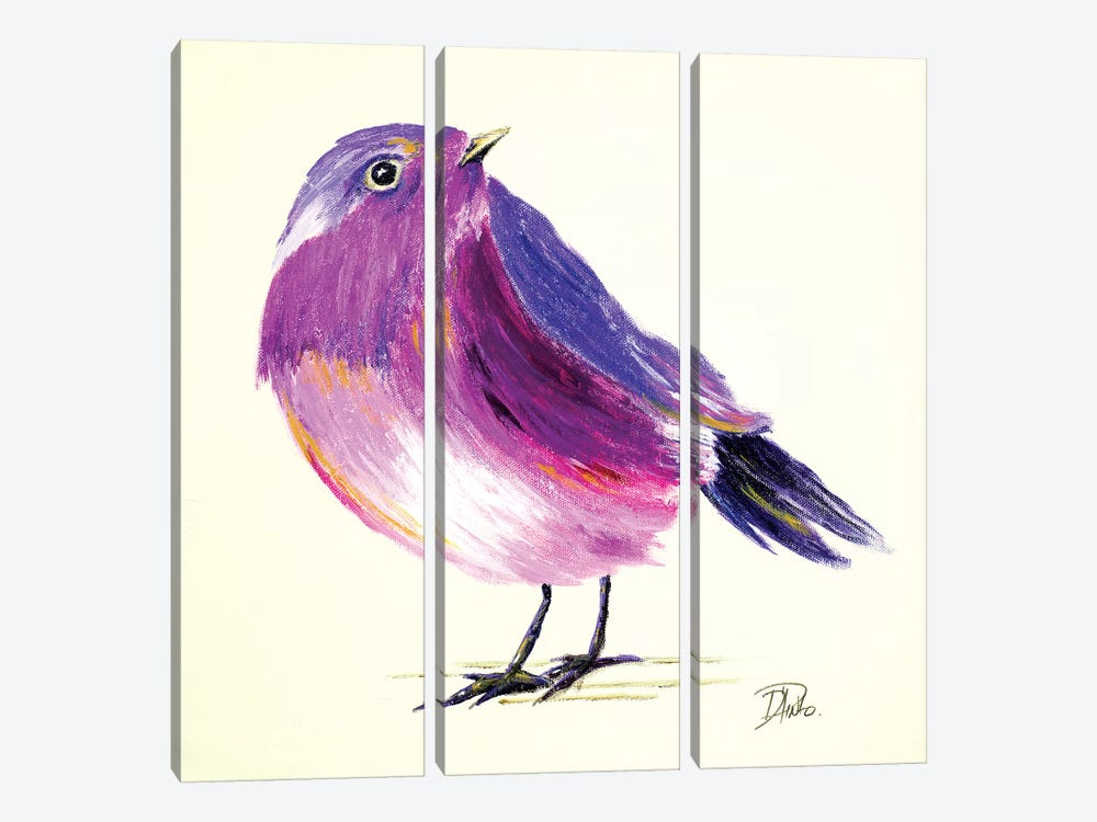 Purple Bird I by Patricia Pinto 3-piece Canvas Wall Art