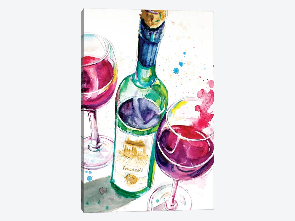 Red and White Wine I by Patricia Pinto 1-piece Canvas Art