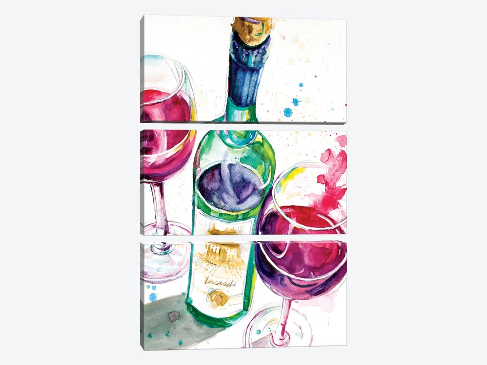 Red and White Wine I by Patricia Pinto 3-piece Canvas Art