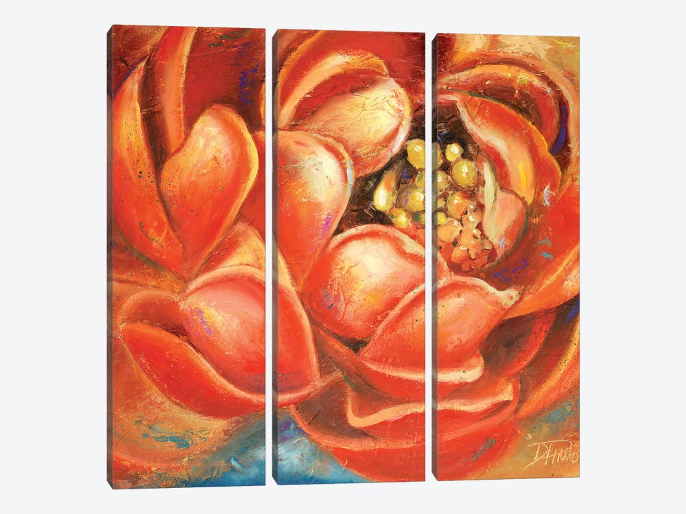 Red Lotus I by Patricia Pinto 3-piece Canvas Wall Art