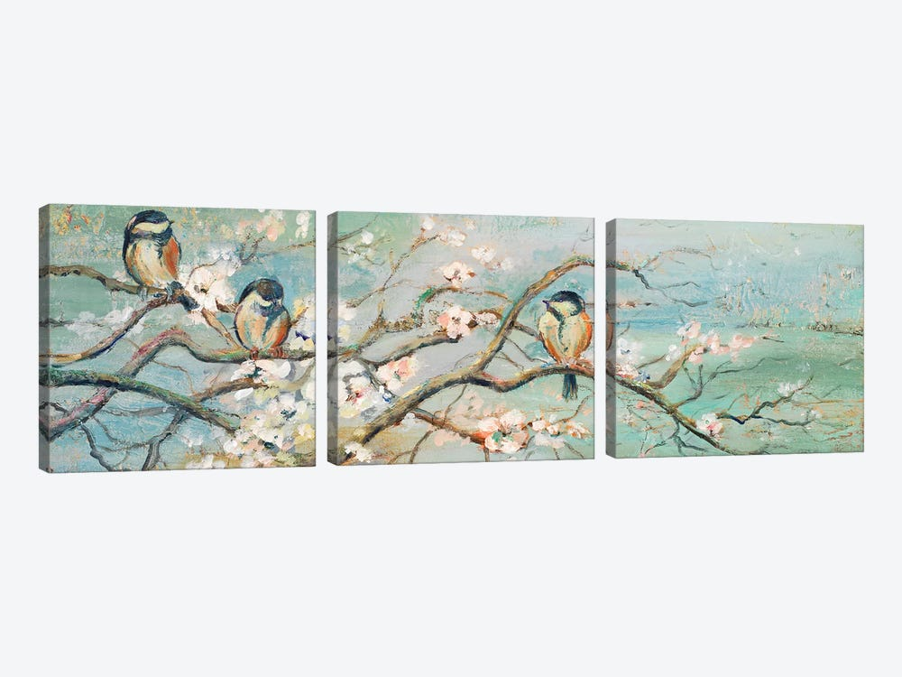 Spring Branch with Birds by Patricia Pinto 3-piece Canvas Artwork