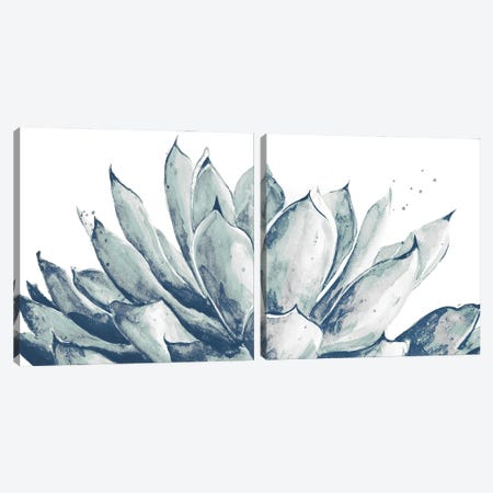 Blue Agave On White Diptych Canvas Print Set #PPI2HSET001} by Patricia Pinto Art Print