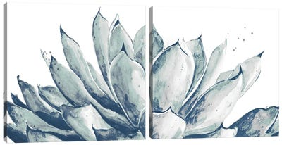 Blue Agave On White Diptych Canvas Art Print