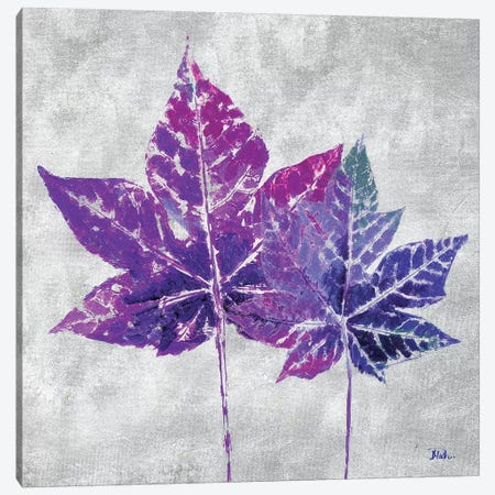 The Purple Leaves on Silver I Canvas Print #PPI305} by Patricia Pinto Canvas Wall Art