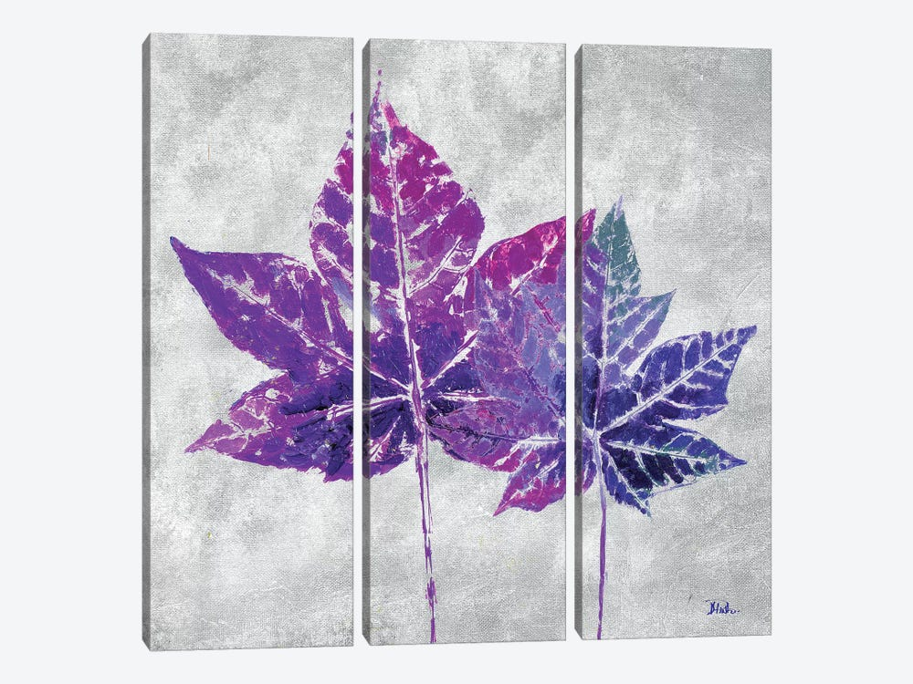 The Purple Leaves on Silver I by Patricia Pinto 3-piece Canvas Artwork