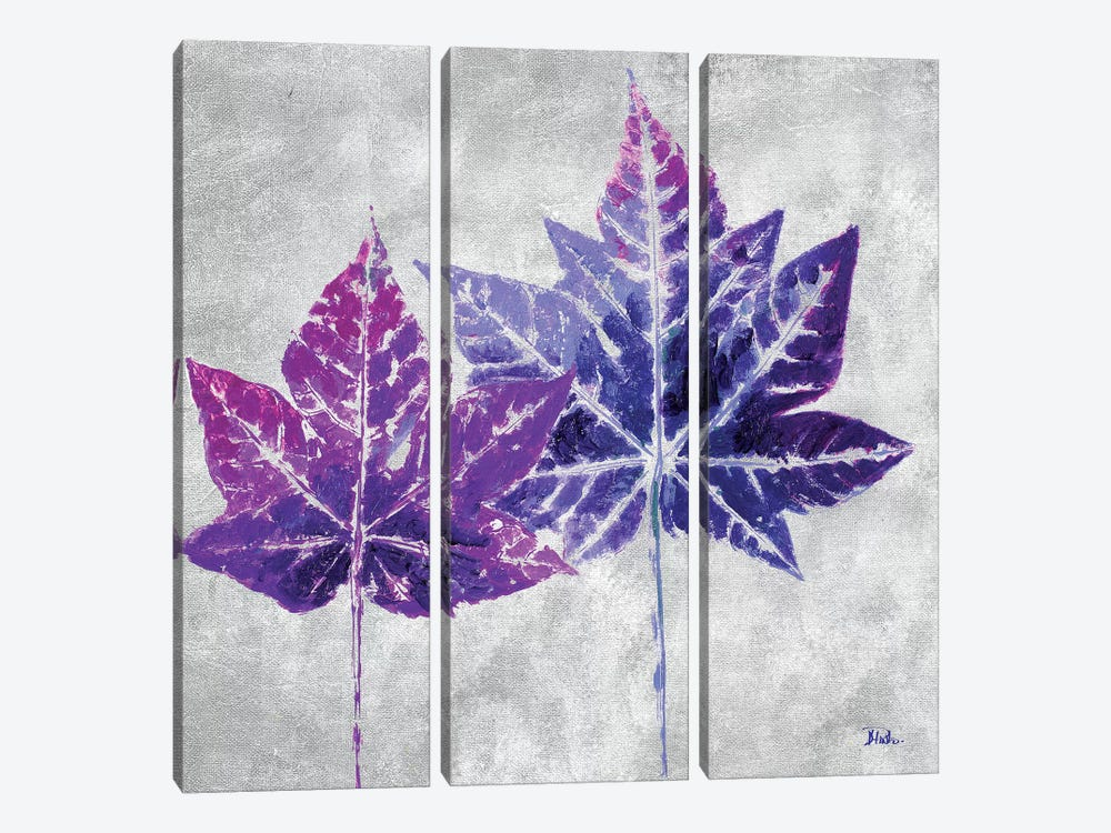 The Purple Leaves on Silver II by Patricia Pinto 3-piece Canvas Print