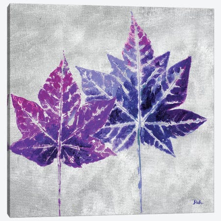 The Purple Leaves on Silver II Canvas Print #PPI306} by Patricia Pinto Canvas Wall Art