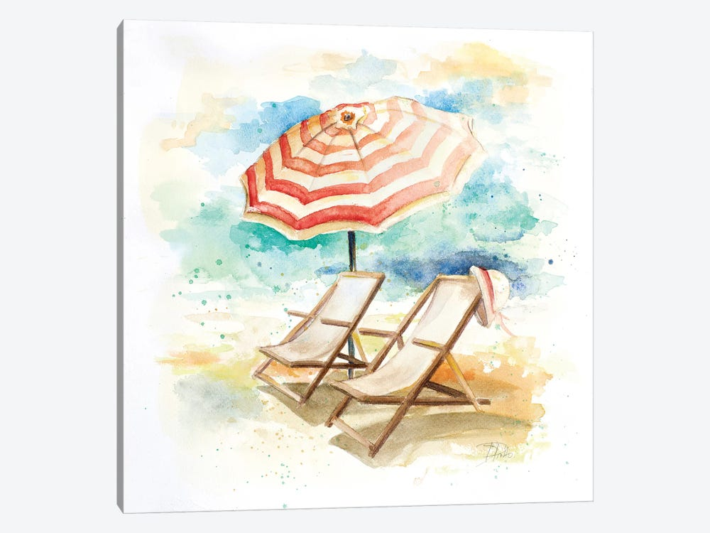 Umbrella on the Beach I by Patricia Pinto 1-piece Canvas Art