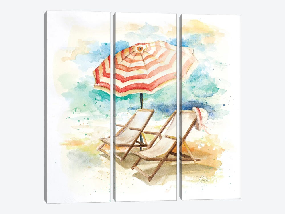 Umbrella on the Beach I by Patricia Pinto 3-piece Canvas Artwork