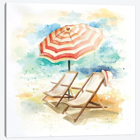 Umbrella on the Beach I Canvas Print #PPI321} by Patricia Pinto Canvas Art Print