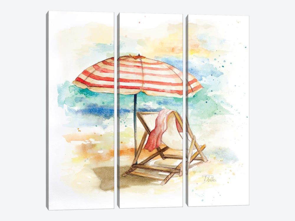 Umbrella on the Beach II 3-piece Art Print