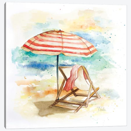 Umbrella on the Beach II Canvas Print #PPI322} by Patricia Pinto Canvas Print