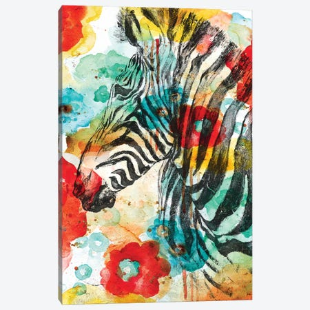 Vibrant Zebra Canvas Print #PPI326} by Patricia Pinto Canvas Artwork