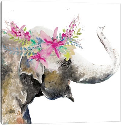 Water Elephant with Flower Crown Canvas Art Print