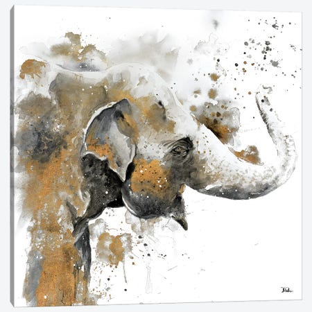 Water Elephant with Gold 3-Piece Canvas #PPI331} by Patricia Pinto Canvas Artwork