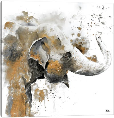Water Elephant with Gold Canvas Art Print
