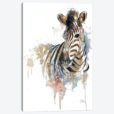 Water Zebra Canvas Print #PPI333} by Patricia Pinto Canvas Artwork