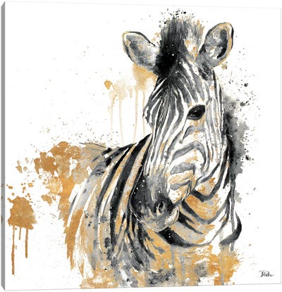 Water Zebra With Gold Canvas Art Print