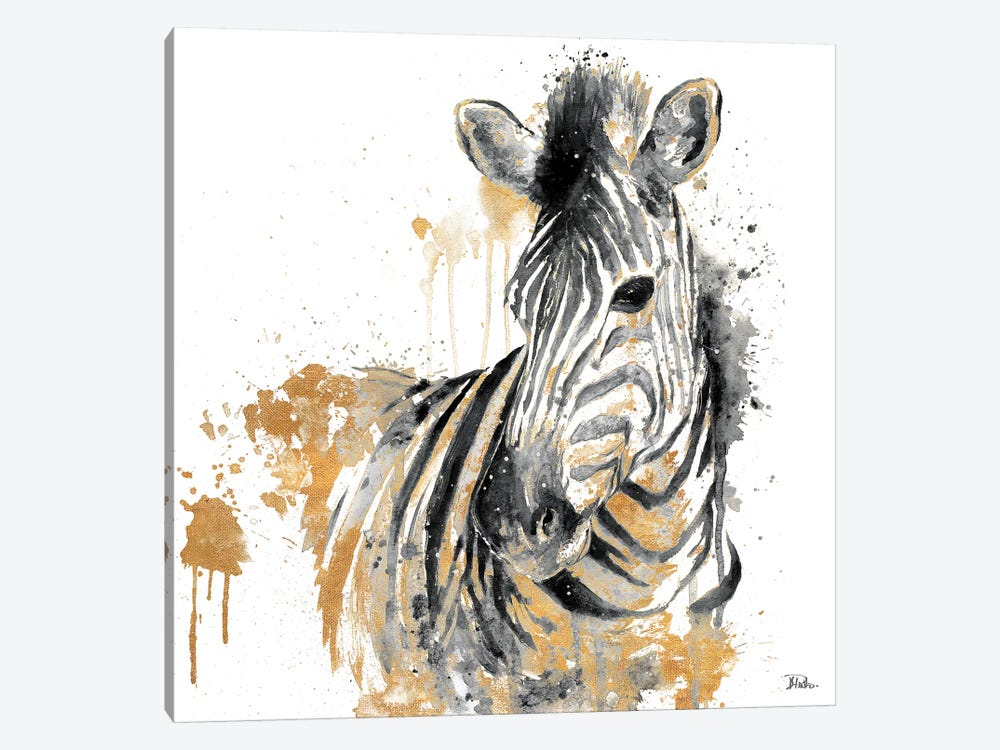 Water Zebra With Gold by Patricia Pinto 1-piece Canvas Artwork