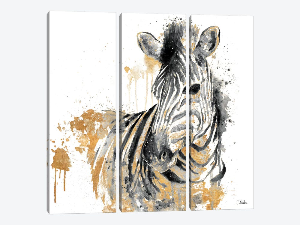 Water Zebra With Gold by Patricia Pinto 3-piece Canvas Wall Art