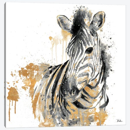 Water Zebra With Gold Canvas Print #PPI334} by Patricia Pinto Canvas Art Print