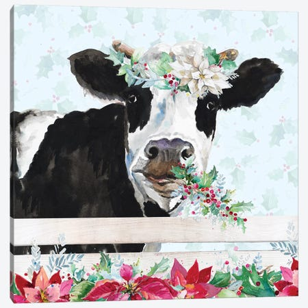 Holiday Crazy Cow Canvas Print #PPI362} by Patricia Pinto Canvas Print