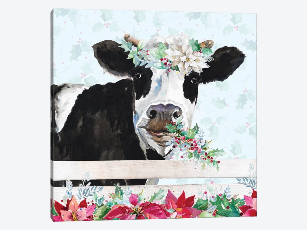 Holiday Crazy Cow by Patricia Pinto 1-piece Canvas Print