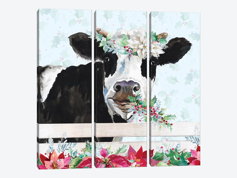 Holiday Crazy Cow by Patricia Pinto 3-piece Canvas Art Print