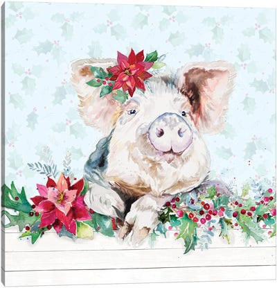 Holiday Little Piggy Canvas Art Print
