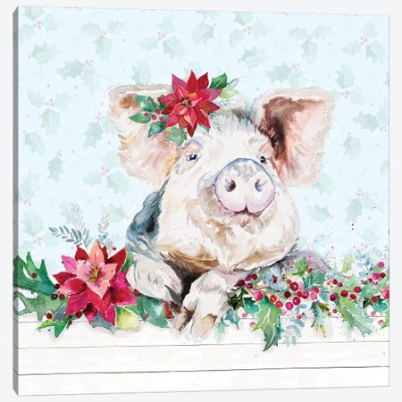 Holiday Little Piggy Canvas Print #PPI363} by Patricia Pinto Art Print