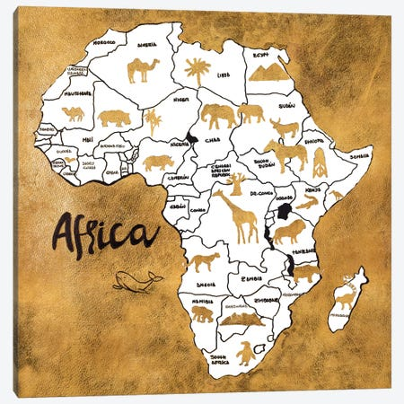 Africa Map Canvas Print #PPI369} by Patricia Pinto Canvas Art Print