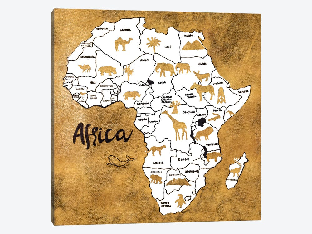 Africa Map by Patricia Pinto 1-piece Canvas Art