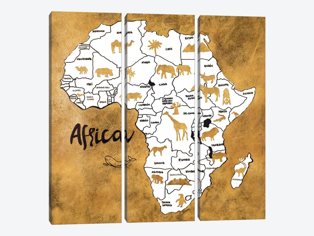 Africa Map by Patricia Pinto 3-piece Canvas Wall Art