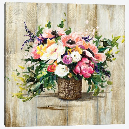 Basket With Flowers Canvas Print #PPI379} by Patricia Pinto Canvas Artwork