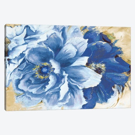 Beautiful Peonies In Indigo Canvas Print #PPI383} by Patricia Pinto Art Print