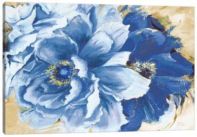 Beautiful Peonies In Indigo Canvas Art Print