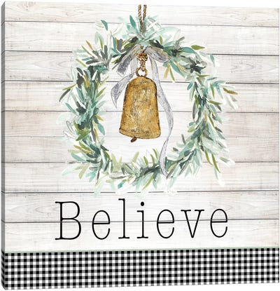 Believe Bell Wreath Canvas Art Print