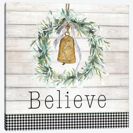 Believe Bell Wreath Canvas Print #PPI388} by Patricia Pinto Canvas Print