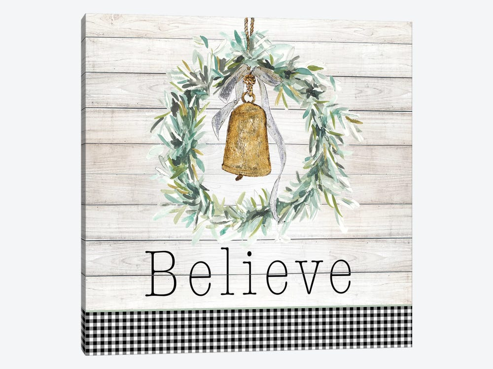 Believe Bell Wreath by Patricia Pinto 1-piece Canvas Print