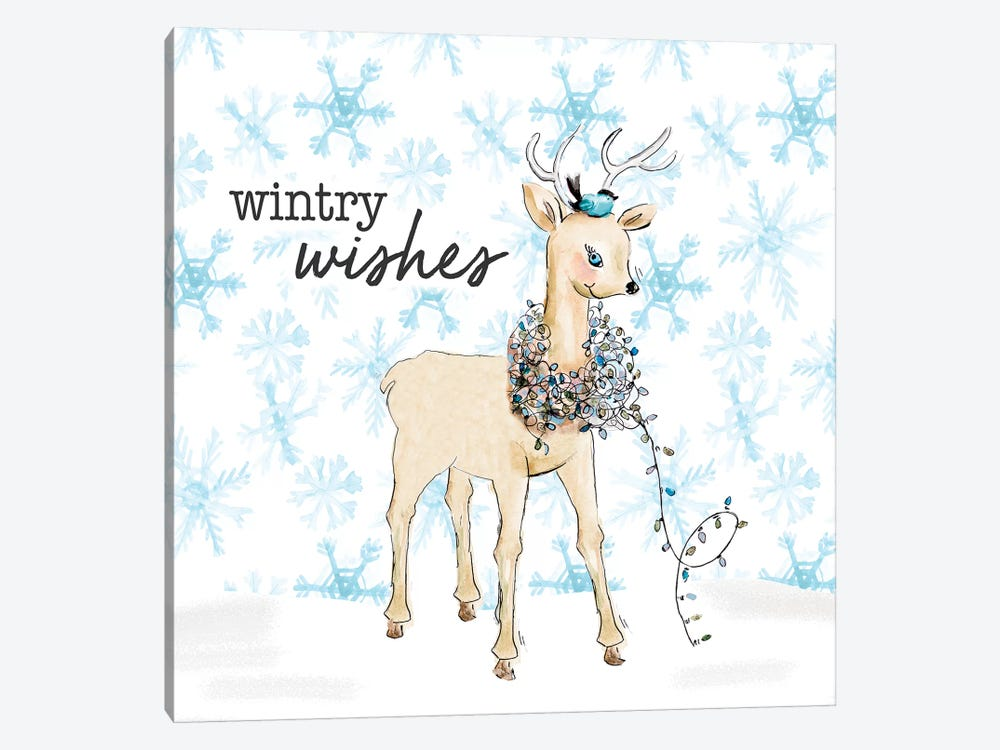 Blue Whimsical Christmas I by Patricia Pinto 1-piece Canvas Art Print