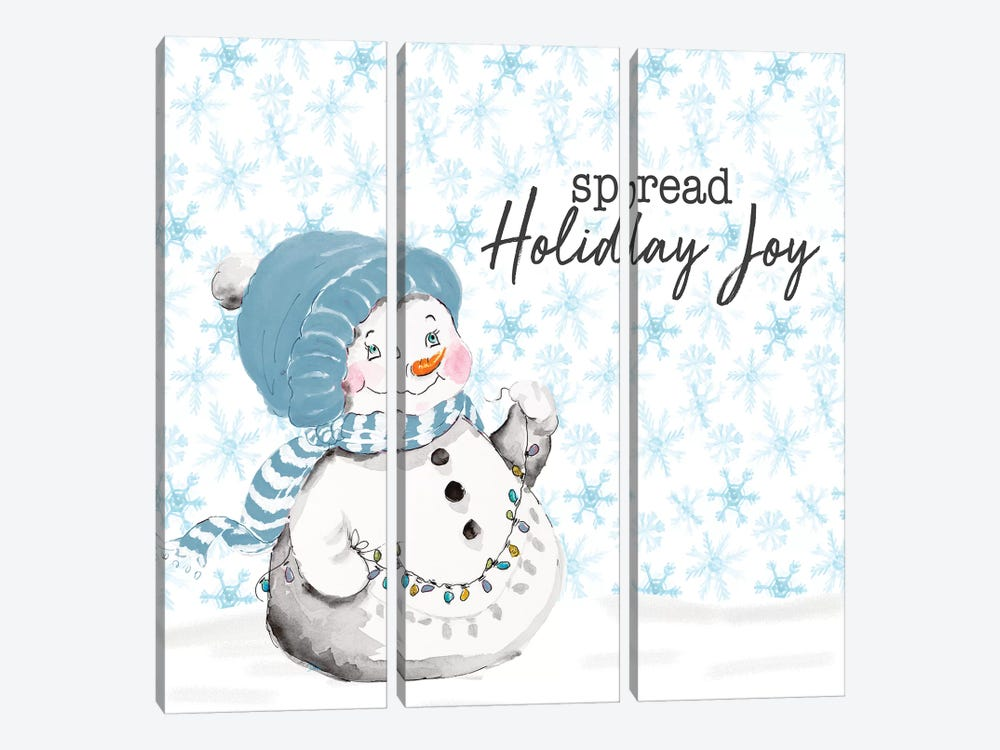 Blue Whimsical Christmas IV by Patricia Pinto 3-piece Canvas Wall Art