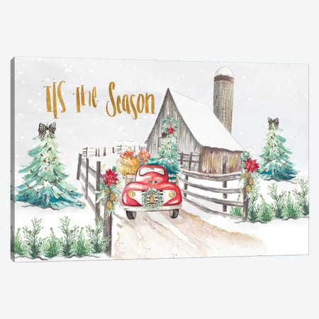 Christmas On The Farm Canvas Print #PPI415} by Patricia Pinto Canvas Wall Art