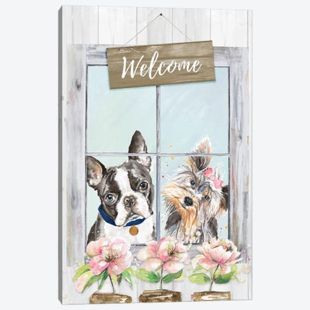 Doggy Welcome Canvas Print #PPI428} by Patricia Pinto Canvas Art
