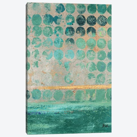 Dots On Teal Canvas Print #PPI429} by Patricia Pinto Canvas Wall Art