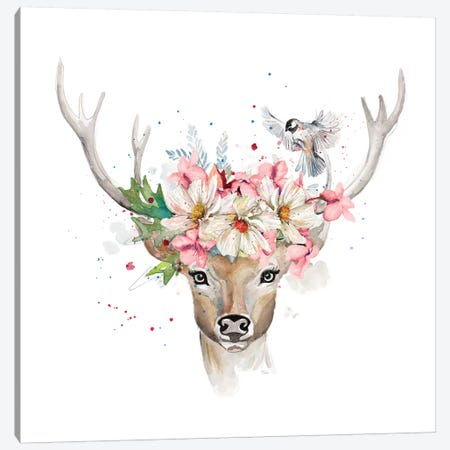 Floral Woodland Deer Canvas Print #PPI445} by Patricia Pinto Art Print