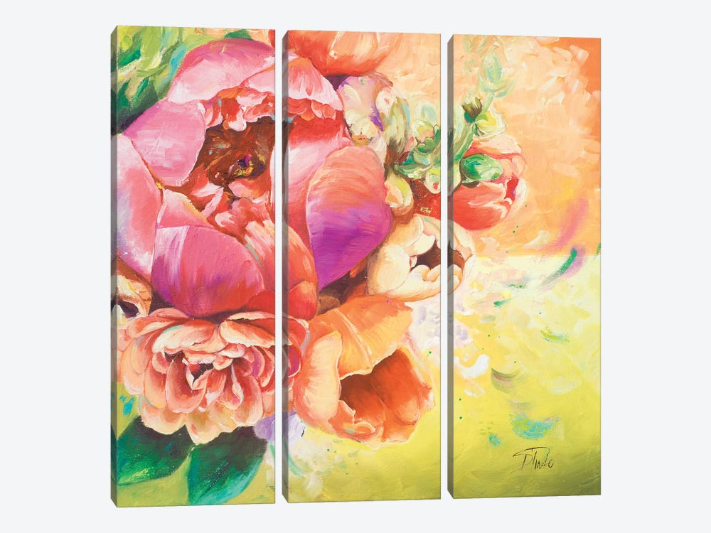 Beautiful Bouquet of Peonies I by Patricia Pinto 3-piece Canvas Wall Art