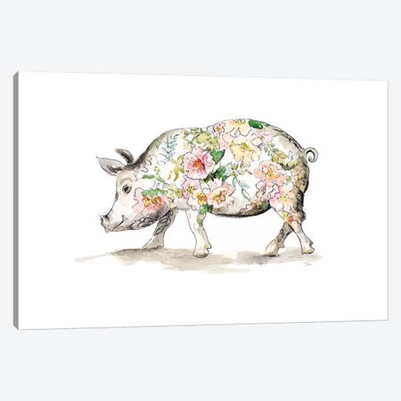 Happy Little Pig Canvas Print #PPI460} by Patricia Pinto Canvas Wall Art