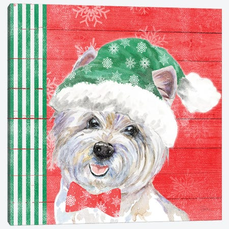 Holiday Puppy IV Canvas Print #PPI470} by Patricia Pinto Art Print