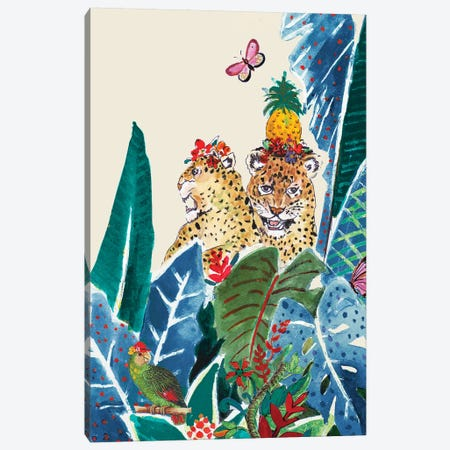 Jungle CarnIVal On Cream Canvas Print #PPI475} by Patricia Pinto Canvas Wall Art
