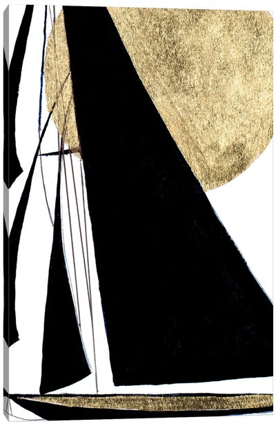 Midnight Black Sailing Canvas Art Print